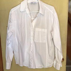Zara white button down shirt. Size L
